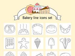 Иконки line art для кондитерской-пекарни