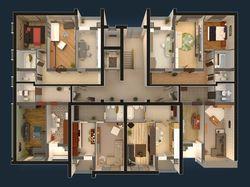 3d план секции жилого комплекса