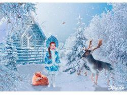"""""""Маленькая снегурочка в зимнем лесу"""""""