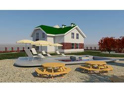 Визуализация жилого дома на 2 семьи