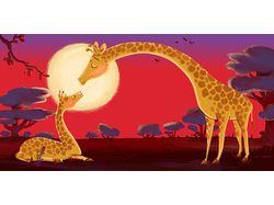 Закат в саване - слон, жираф, гиппопотам