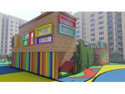 Детский дворовой клуб с игровой площадкой