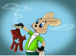 Заяц с перчаткой