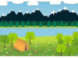 Отдых с палатками на реке