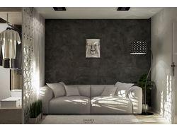 интерьер жилой комнаты. 3х5 м