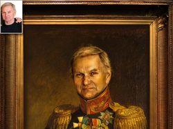 Мужской портрет в образе военного 19 века - коллаж
