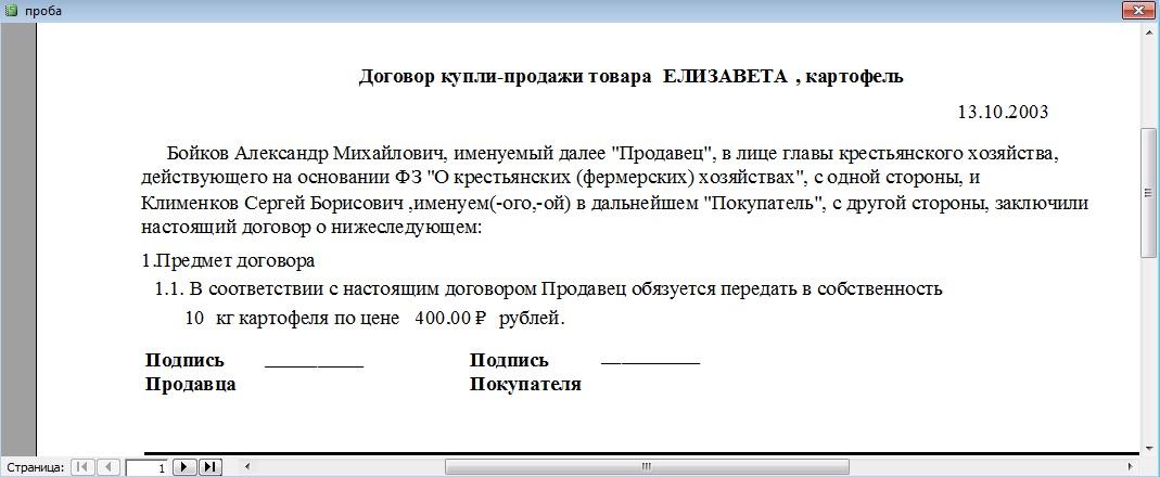 Скриншот отчета