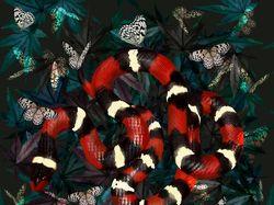 Иллюстрация королевская поперечно-полосатая змея