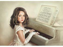 """Фотокартина """"Пианистка"""""""
