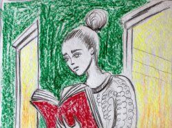 Читающая девушка. скетч
