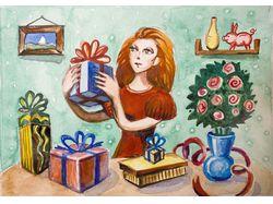 Девушка с подарками