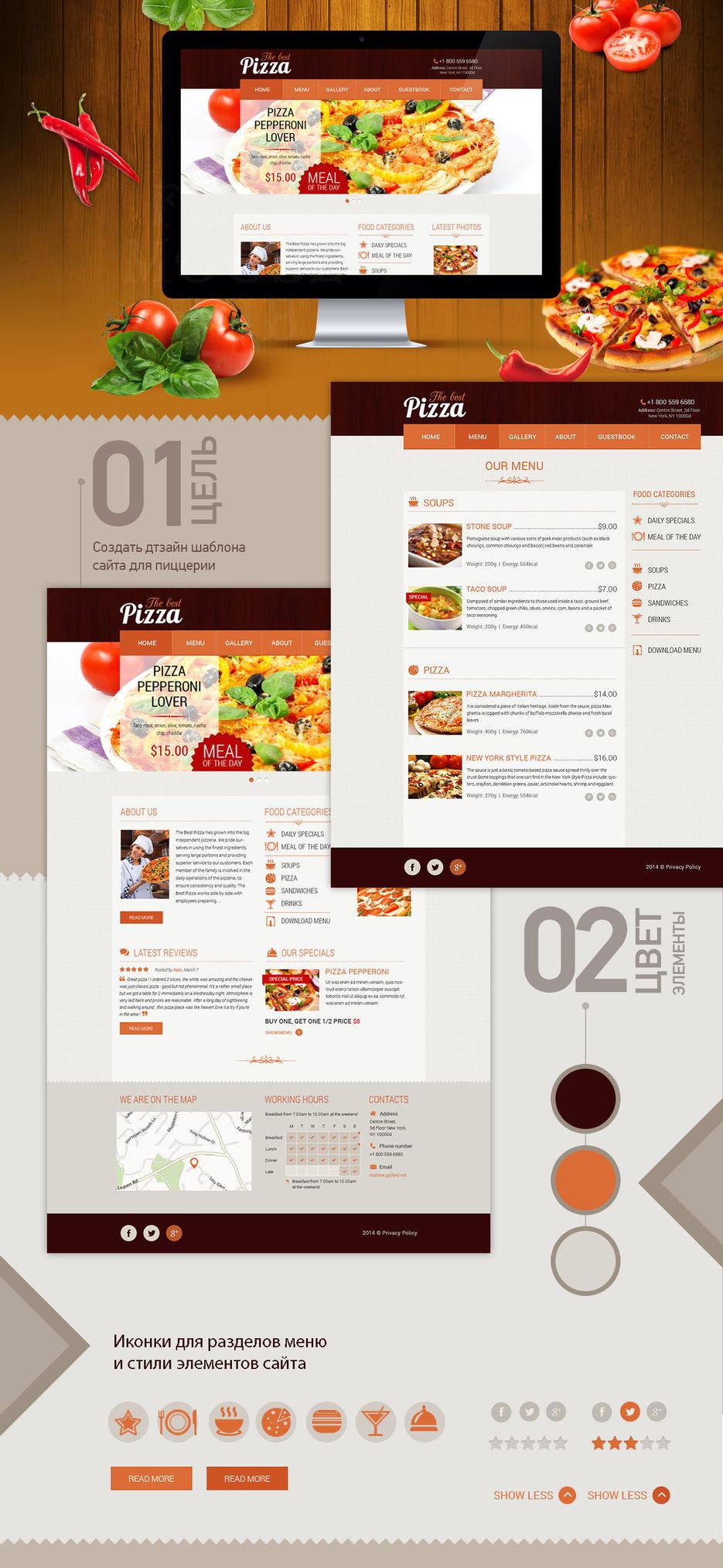 Дизайн шаблона сайта для пиццерии