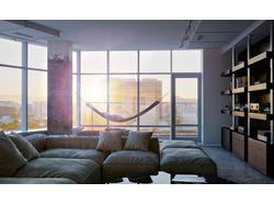 Визуализация квартиры с панорамными окнами