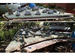 Средневековое деревяное село, бетон