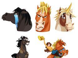 Стикеры лошади. Векторная графика.