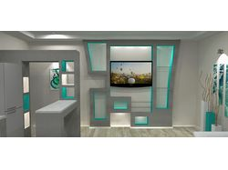 Дизайн комнаты в частном доме с простым рендером