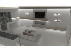 Дизайн объединенных кухни и зала в монолитном доме