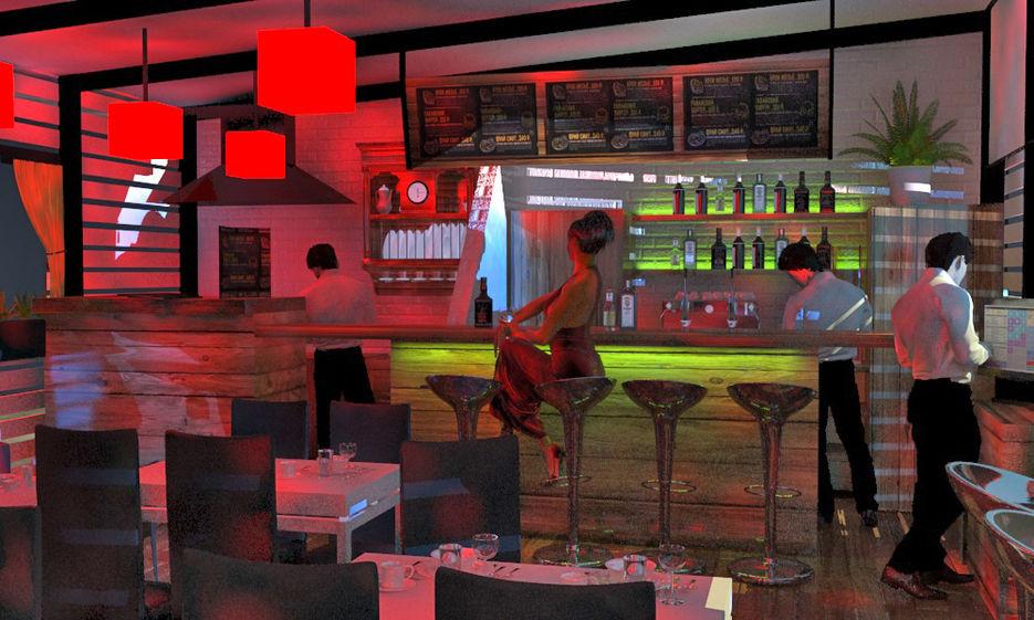 """Визуализация ночного освещения кафе """"120"""""""