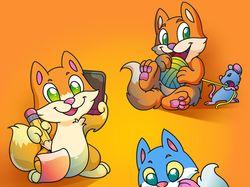 Играющие котята (вектор)