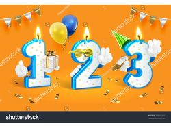 Birthday candle numbers. Vector