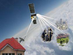 Изображение работы спутникового интернета.