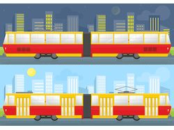 Trams vector flat illustrations