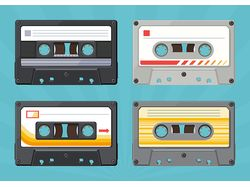 Retro objects vector flat illustrations