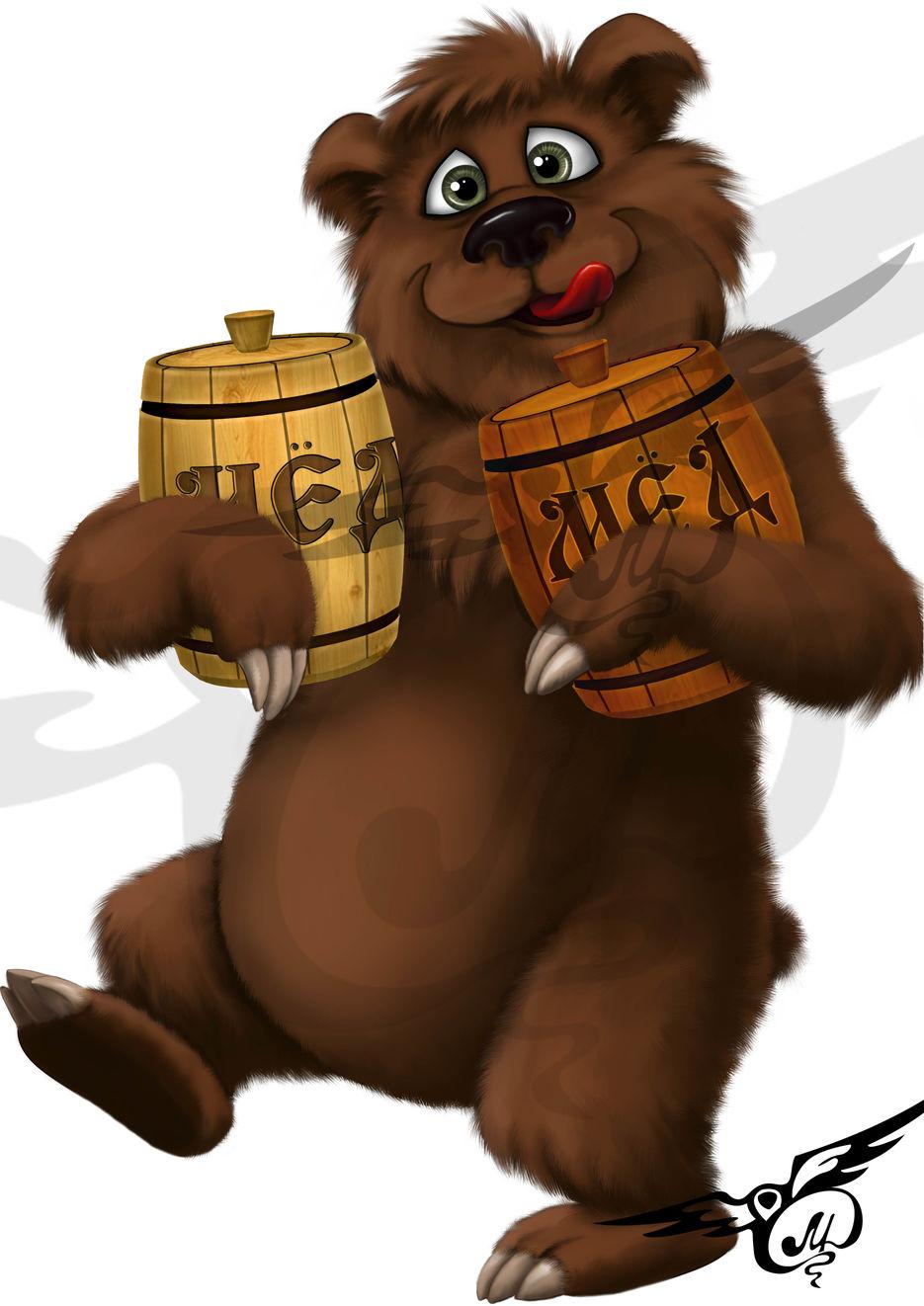 Медведи и мед открытки, оранжевыми
