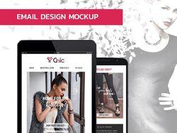 Email designed mockup for online store