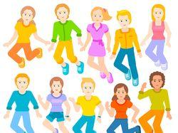 children are jumping, vector illustration