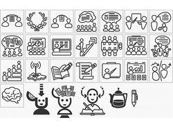 линейные иконки (образование, коммуникации)