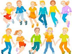 Дети, vector, happy children are jumping