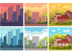 City - town - countryside: ecology theme vector