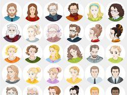 Аватары, набор аватаров, юзерпики в векторе