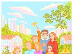 Семья на природе с друзьями детей, весна