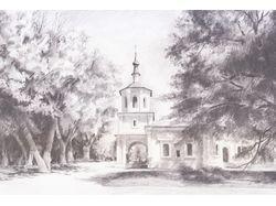 Набросок Петропавловской церкви в станице Старочер