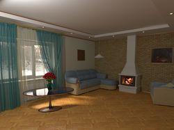 комната с камином