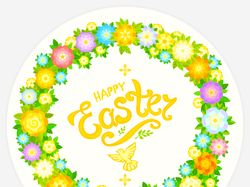 Easter postcard, decorative wreath of flowers