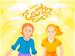 Boy and girl - happy children, Easter postcard