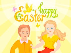 Happy Easter postcard, boy and girl are friends
