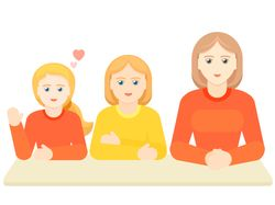 Three girls are studing, simple vector
