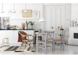 3D визуализация, белая кухня в скандинавском стиле