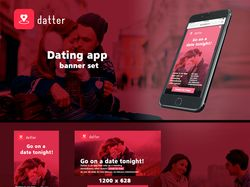 """Datter"" - Dating app banner set"