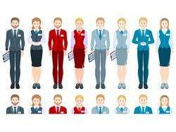 People set: businessmen, managers, stewardess