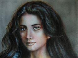 Портрет аэрографом на картоне (30x40)