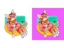 Кошки, акварель. Удаление белого фона