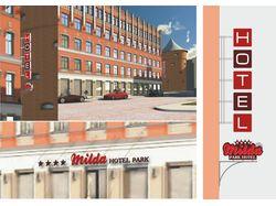 Лого и наружная реклама отеля в Риге