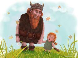 Викинг на прогулке с дочерью