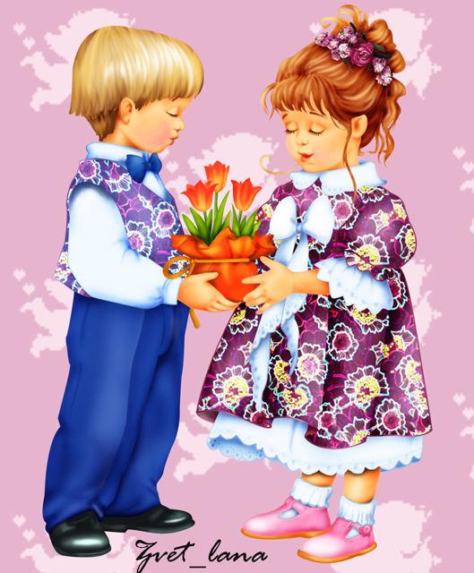 Картинки на тему девочки и мальчики для дошкольников, открыток