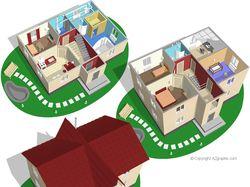 Разрез коттеджа для строительной фирмы